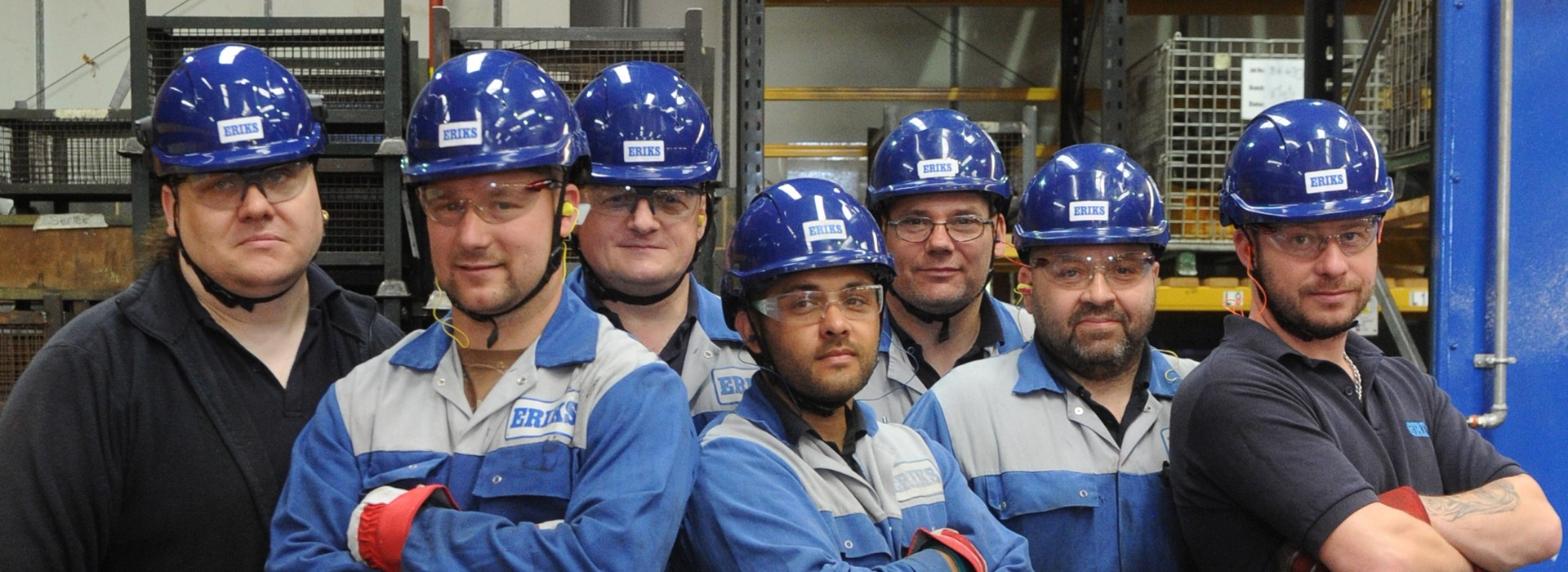 Employees in PPE Safety hats,Glasses and Gloves